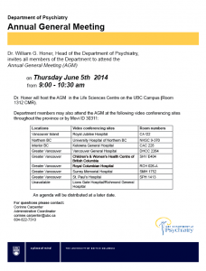 Department Annual General Meeting – June 5, 2014
