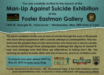 Man-Up Against Suicide exhibition launch – May 28th, 5-7pm