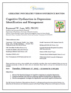 UBC Geriatric Psychiatry Videoconference Rounds Tuesday Feb 17, 2015