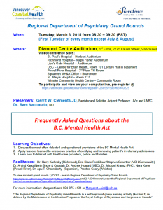 Regional Department of Psychiatry Grand Rounds – Tuesday March 3, 2015