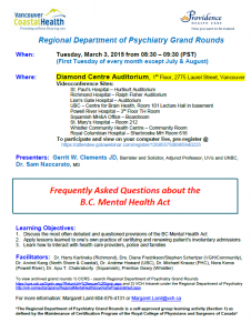 Regional Department of Psychiatry Grand Rounds – Tuesday March 3