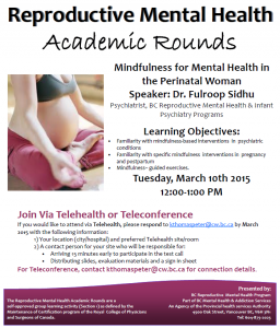 Reproductive Mental Health Rounds. Tuesday March 10th 2015
