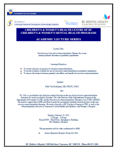 Children's &Women's Academic Lecture Series – Monday February 23rd , 2015