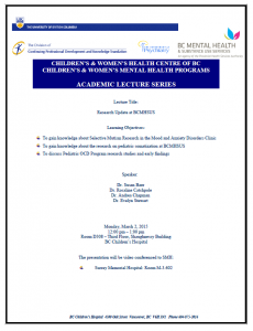 Children's &Women's Academic Lecture Series Monday March 2nd