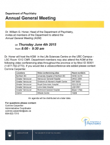 Department Annual General Meeting Thursday June 4th
