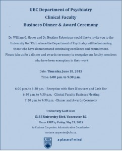Clinical Faculty Business Dinner and Awards Ceremony Thursday June 18th 2015