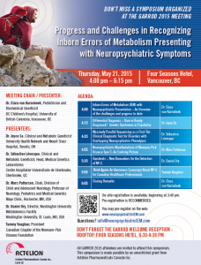 IEMs in Psychiatry – Satellite Symposium (GARROD Congress, May 21st, Vancouver)