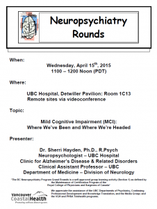 BCNP Grand Rounds  Wednesday  April 15