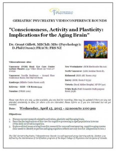 UBC Geriatric Psych Videoconference Rounds Wednesday  April 15