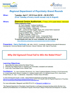 Regional Department of Psychiatry Grand Rounds – Tuesday April 7, 2015