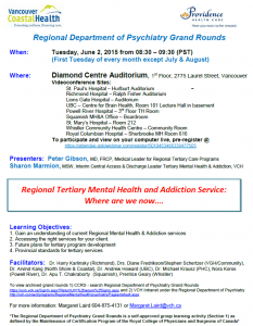 Regional Department of Psychiatry Grand Rounds – June 2, 2015