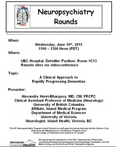 BCNP Grand Rounds: Wed. Jun. 10 – Dr. Alexandre Henri-Bhargava