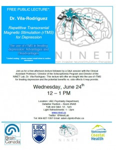 Lecture  Dr. Vila-Rodriguez:  The use of rTMS in treating depression: Advantages and Disadvantages Wednesday June 24
