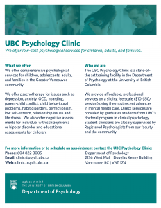 UBC Psychology Clinic now open for Referrals for September 2015