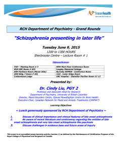 RCH Department of Psychiatry Grand Rounds – Tuesday June 9, 2015