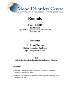 Mood Disorders Centre Rounds – JUNE 10th, 12:00 noon