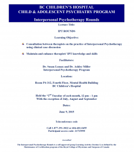 Interpersonal Psychotherapy Rounds – June 9, 2015