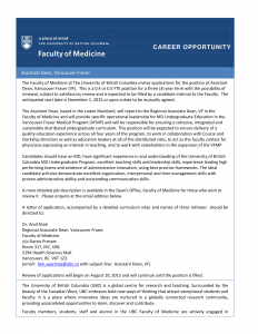 Faculty of Medicine Career Opportunity: Assistant Dean