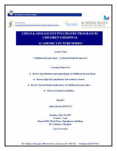 Children's &Women's Academic Lecture Series Monday June 29, 2015