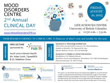 Mood Disorders Centre Clinical Day Friday August 21st