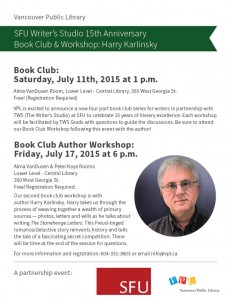Vancouver Public Library Book Club  – Dr Harry Karlinsky – Friday July 15 at 6 PM