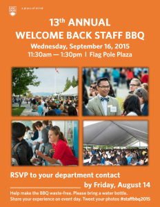 Invitation: 2015 Staff Welcome Back BBQ (Wed Sept 16)