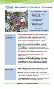 Weekly Construction Update – UBC Hospital July 13-17