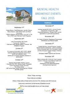 HOpe Centre – Mental Health Breakfast Meeting – Fall Schedule 2015