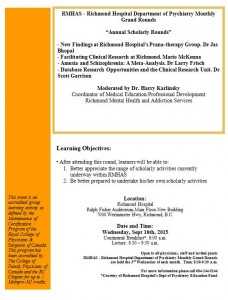"Richmond Hospital ""A Focus on Research:September 16th 2015"
