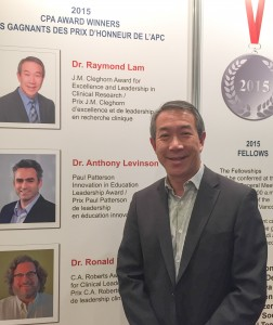 Dr. Raymond Lam awarded the CPA J.M. Cleghorn Award for Excellence and Leadership in Clinical Research