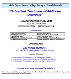 RCH Department of Psychiatry Grand Rounds – Tuesday November 10