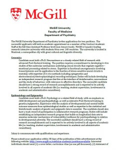 Seeking applications for Assistant Professor (non-tenure track) – Department of Psychiatry, McGill University