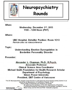BCNP Grand Rounds: Wednesday December 2nd