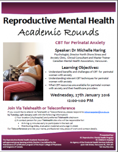 Reproductive Mental Health Rounds Wednesday January  27th
