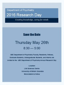 Save the Date – 31st Annual Department Research Day Thursday May 26th