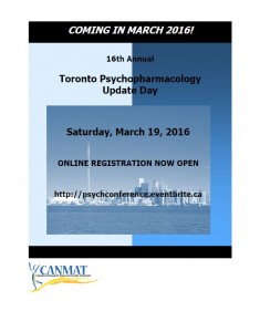 CANMAT sponsored Toronto Psychopharmacology Update Day conference