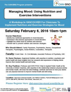 CAN-BIND  – Managing Mood: Using Nutrition and Exercise Interventions – Saturday February 6th