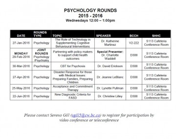 BCCH Psychology Rounds Schedule 2015-2016