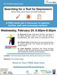 CAN-BIND- Searching for a Test for Depression – Wednesday February 24th