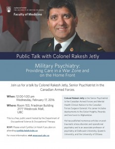 Visiting Scholar:  Colonel Rakesh Jetly – Military Psychiatry – February 17th, noon to 1 pm, Friedman 153