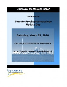 Conference – CANMAT Psychopharmacology Update Day – March 19th