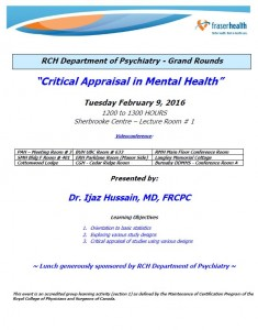 RCH Department of Psychiatry Grand Rounds – Tuesday February 9, 2016