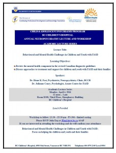 Child and Adolescent Psychiatry Academic Lecture Series Monday April 4th