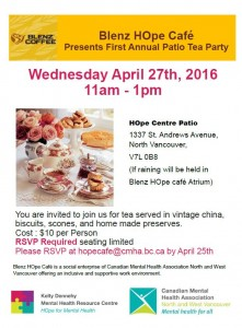 First Annual Blenz HOpe Cafe Patio Tea Party  Wednesday April 27th