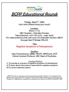 BCPP Educational Rounds Friday April 1st