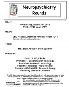 BCNP Grand Rounds: Wednesday  March 30