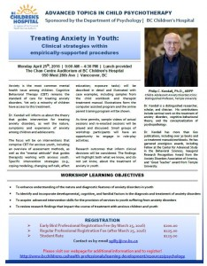 Workshop – Treating Anxiety in Youth – Dr. Philip Kendall – Psychology BCCH