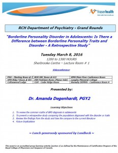 RCH Department of Psychiatry Grand Rounds – Tuesday March 8
