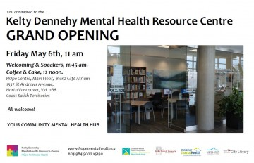 Save Date for the Grand Opening Kelty Dennehy Mental Health Resource Centre
