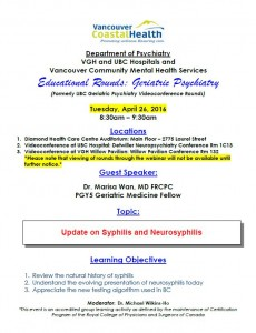 Geriatric Educational Rounds – Tuesday April  26th
